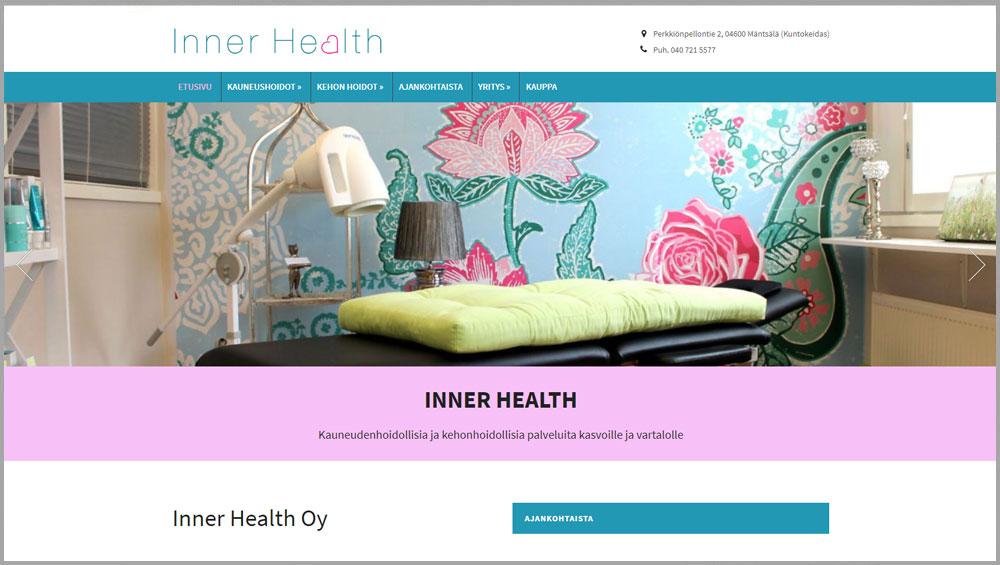 Kauneus- ja Terveyshoitola Inner Health verkkosivut ja -kauppa