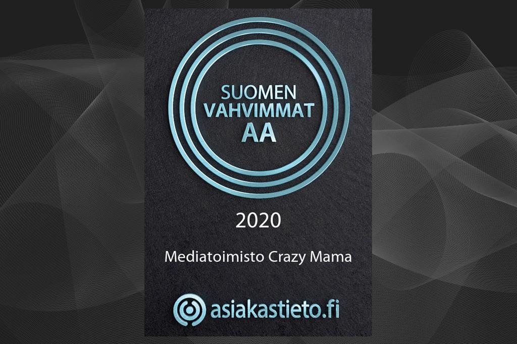 Mediatoimisto Crazy Mama kuuluu Suomen Vahvimmat AA -yrityksiin